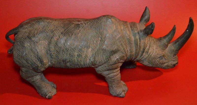 Substantial Vintage Bronze Charging Rhinoceros - 3