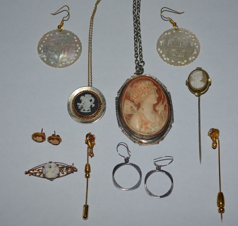 Lot of Jewelry Cameos, Earrings, Stick Pins etc