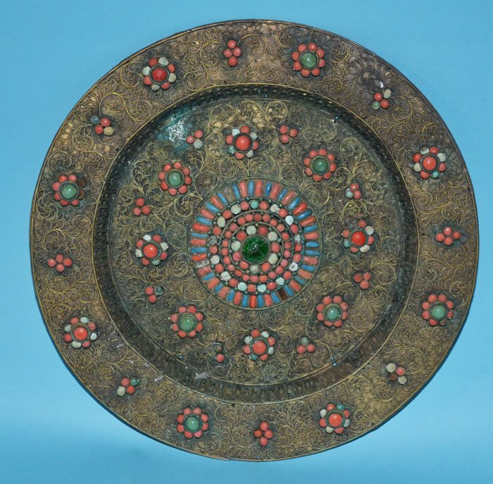 Antique Middle Eastern Coral & Stone Charger