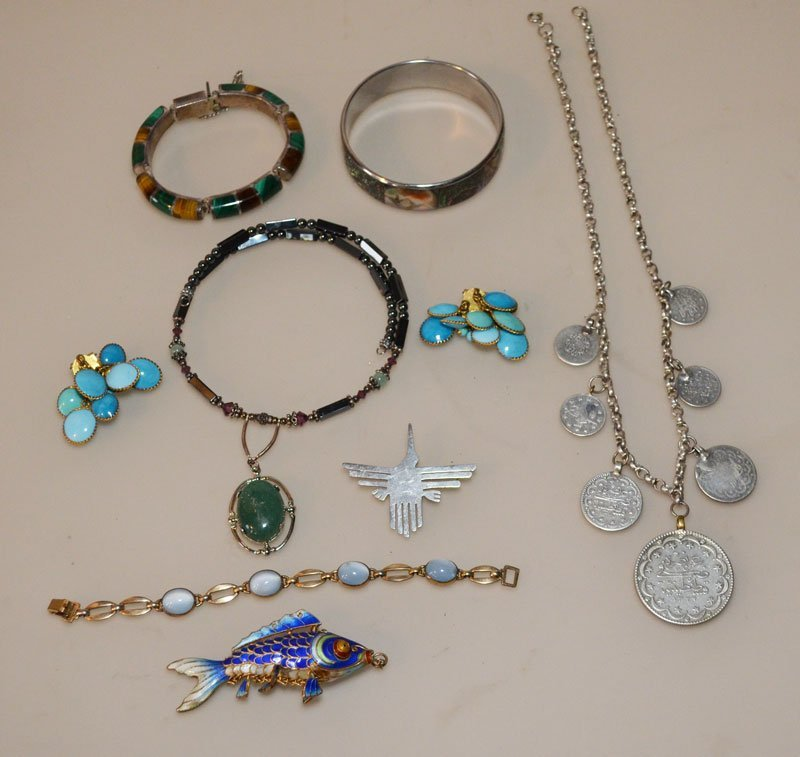 Lot Of Unusual  Vintage  Jewelry ( Sterling, Enamel ,