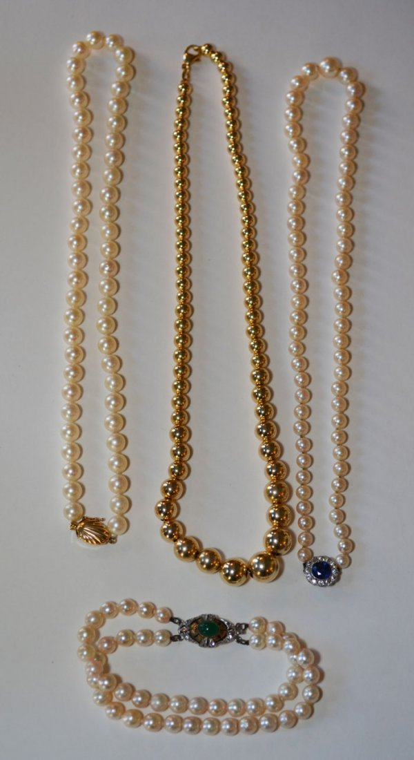 Lot of Pearl Necklaces And Gold  Ball Necklace