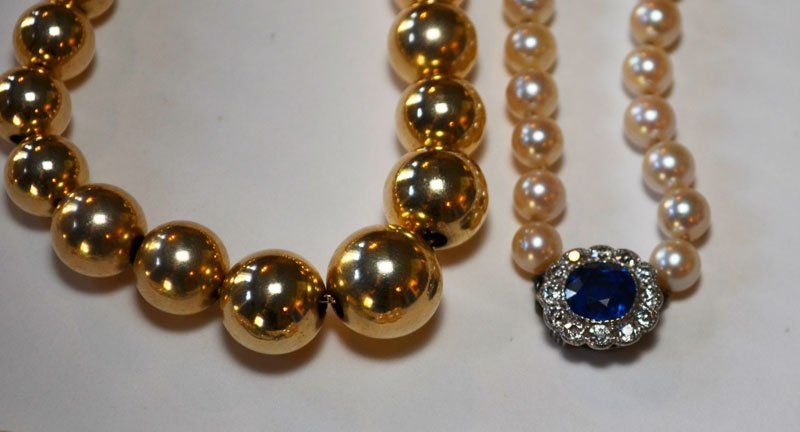 Lot of Pearl Necklaces And Gold  Ball Necklace - 2