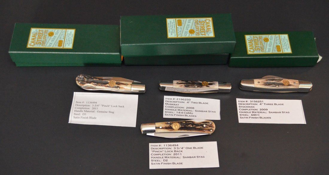 4 Canal Street Stag Horn Pocket Knives