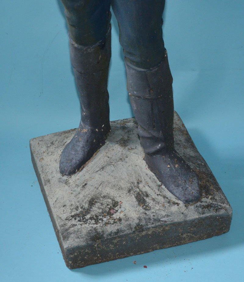 Vintage Cement Lawn Jockey Newel Post - 3