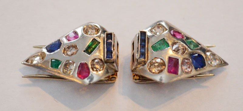 Gold Shoe Clips w Diamonds & 14k Gold Bracelet - 3