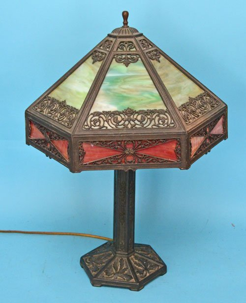 Handsome Iron & Slag Glass Lamp