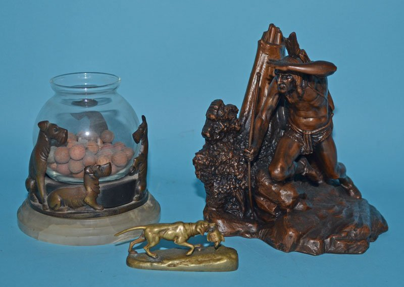 3 Antique Bronze Collectibles (Dogs, Native American)
