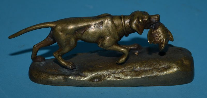 3 Antique Bronze Collectibles (Dogs, Native American) - 4