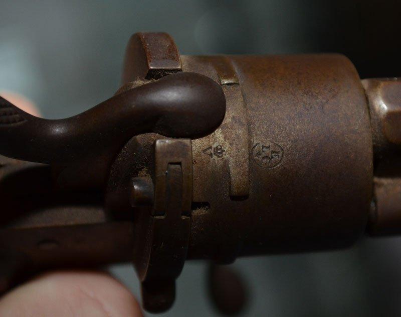 Antique German 6 Shot Folding Trigger Revolver - 3