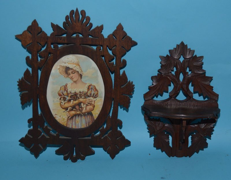 6 Antique Victorian Carved Wood Wall Accessories - 5