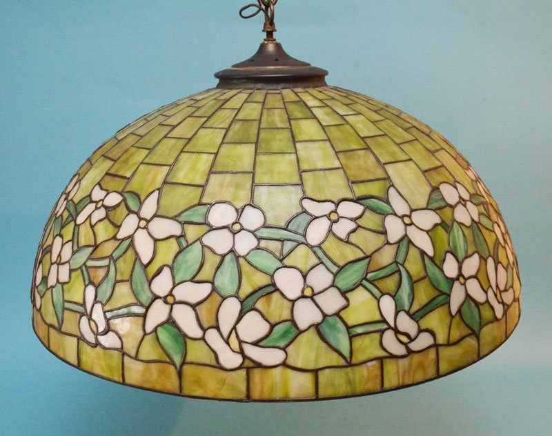 """30"""" Green Stained Slag Glass Dogwood Shade"""
