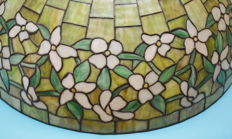 "30"" Green Stained Slag Glass Dogwood Shade - 2"