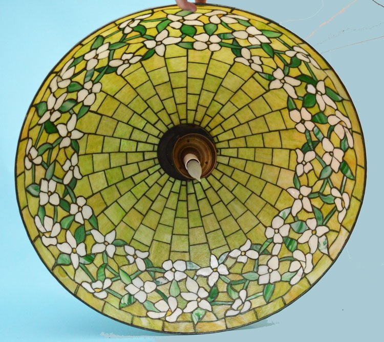 "30"" Green Stained Slag Glass Dogwood Shade - 4"