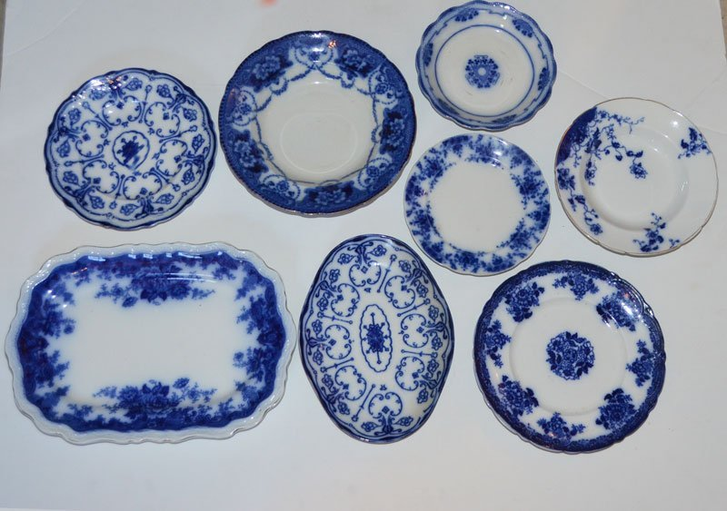 8 Antique Flow Blue Porcelain Plates
