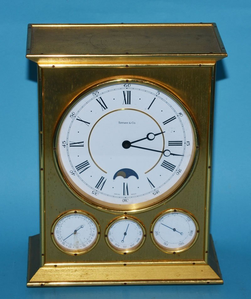 Tiffany & Co Brass Clock with Calendar