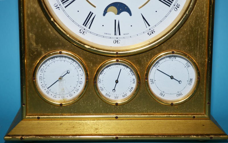 Tiffany & Co Brass Clock with Calendar - 3