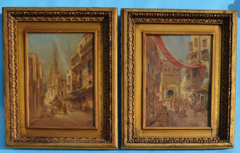 Pair of Early Middle Eastern Bazaar Paintings