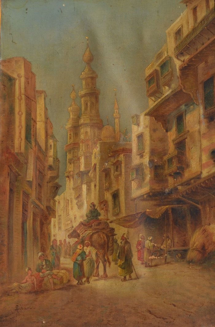 Pair of Early Middle Eastern Bazaar Paintings - 2
