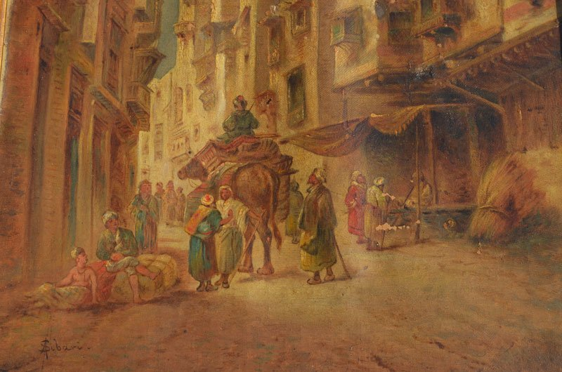 Pair of Early Middle Eastern Bazaar Paintings - 3