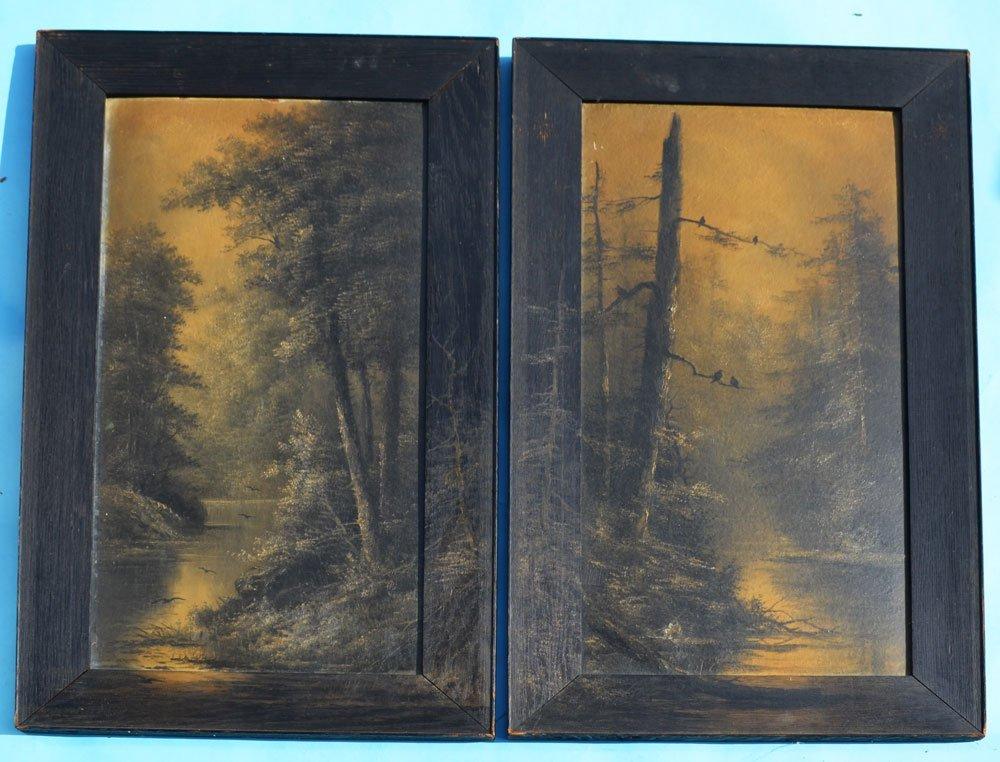 Pair Of Night Landscape Noir River Paintings