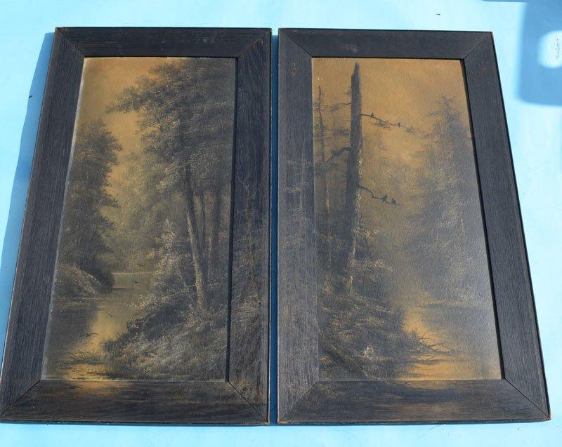 Pair Of Night Landscape Noir River Paintings - 2