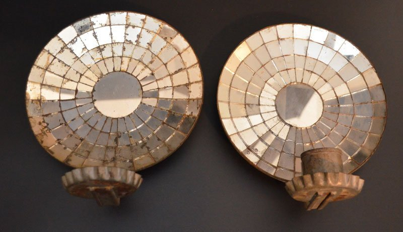 Pair of Antique Mirrored Wall Candle Sconces