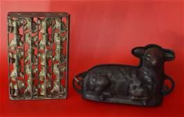 2 Antique Chocolate Molds Lamb  Turkey