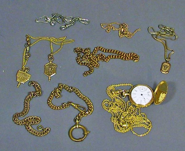 5: 14k Gold Watch & 6 Misc Fobs And Chains