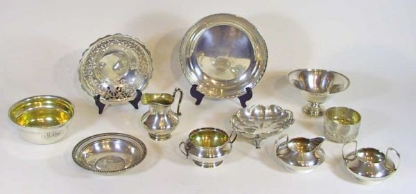 6: 11 Pieces Of Sterling Silver Dishes Creamer Sugar
