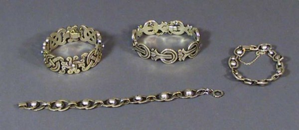7: Lot Of 4 Sterling Silver Bracelets,Taxco And Unmarke