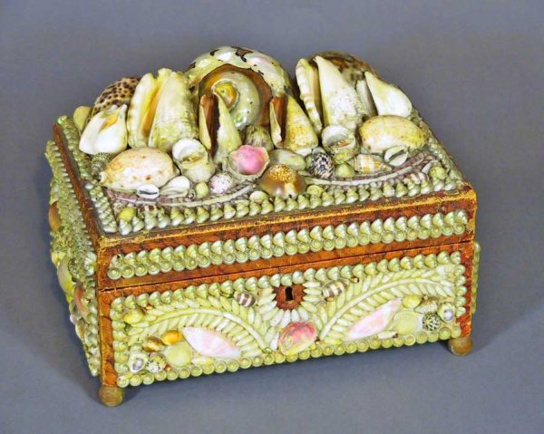 8: Art Deco Sea Shell Covered jewelry Box