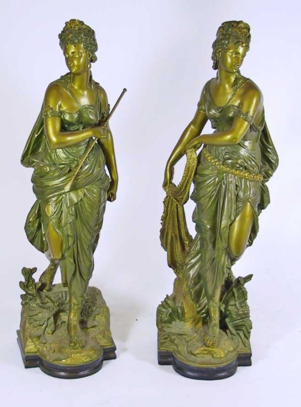 16: Pair Of 19th Century Signed Spelter Woman Figures