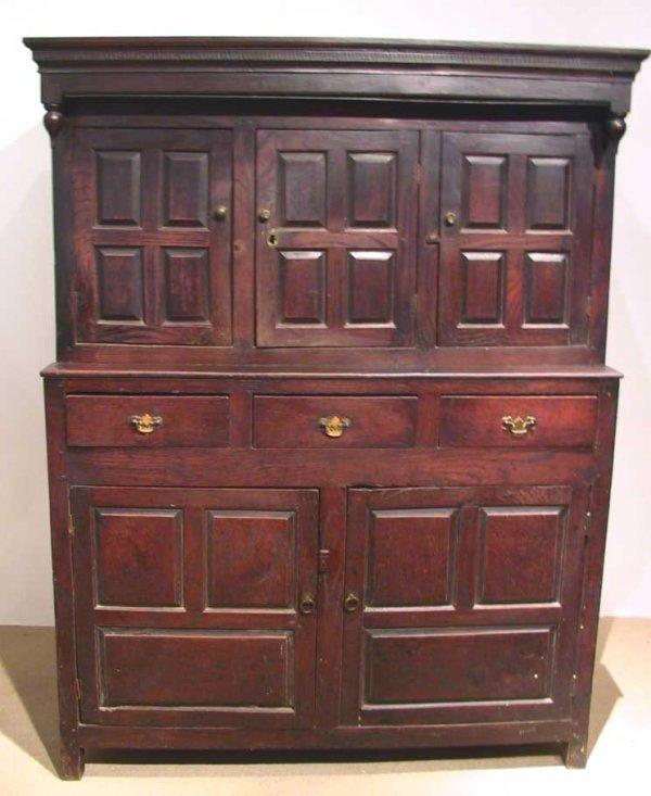 19: 18th C. Jacobean Oak Cabinet / Hutch/ Server