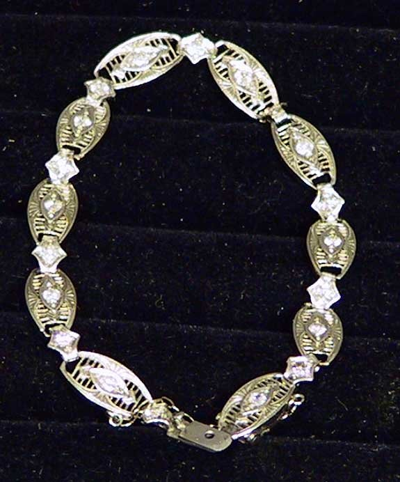 20: Platinum Filigre Bracelet With 20 Diamonds