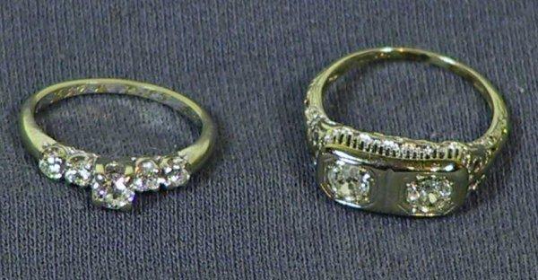 21: 2 Older 14k Gold Diamond Rings