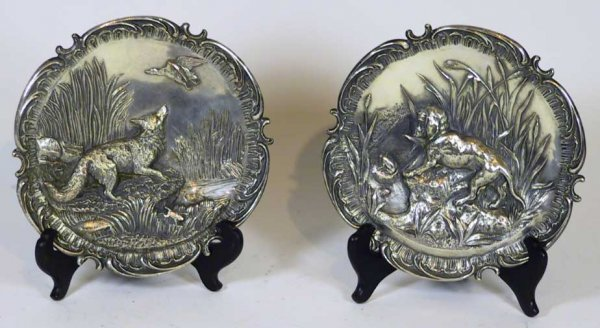 24: Pair Of 19th C. Artist Signed Sheffield Plates