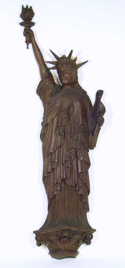 61: 1918 Masonic Statue Of Liberty Wood Hanging Carving
