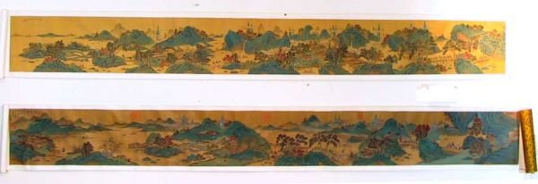 80: 2 Signed Chinese Oriental Scroll Paintings Mountain