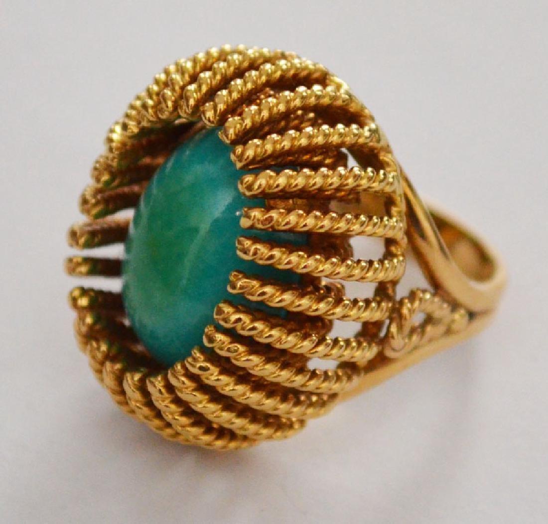 Mid Century Elegant 18K Gold Italy Turquoise  Ring