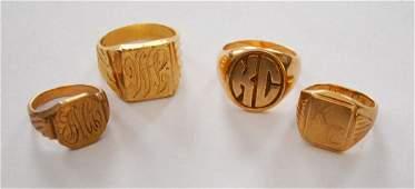 Generous lot Of 4 14 K and 10 K gold rings