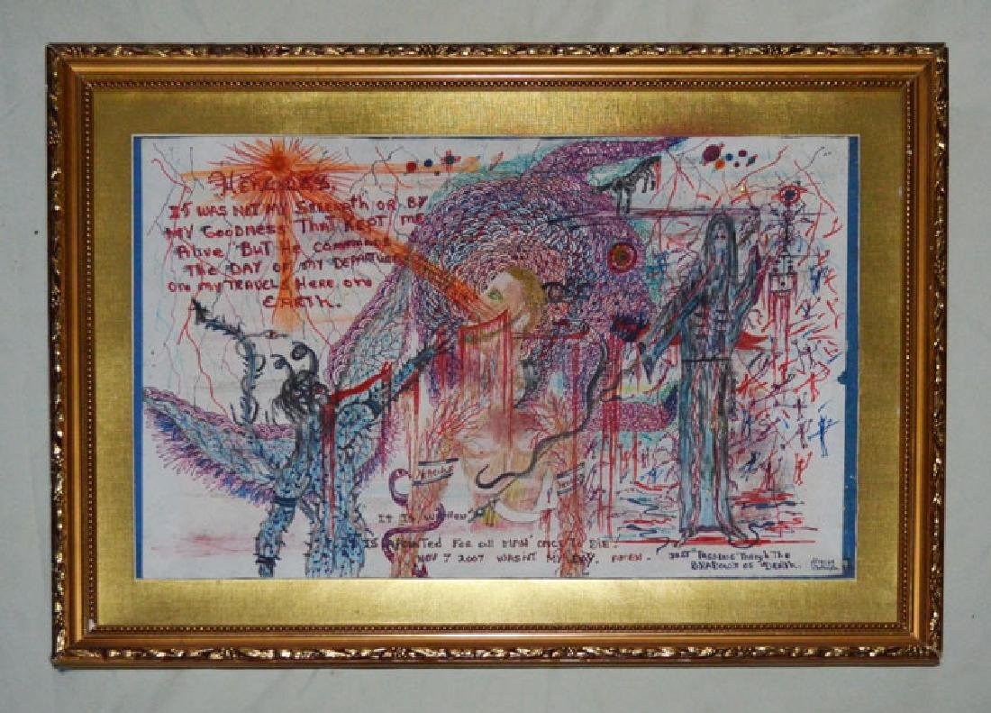Hercules  Outsider Art Mix Media Illegibly Signed #9166