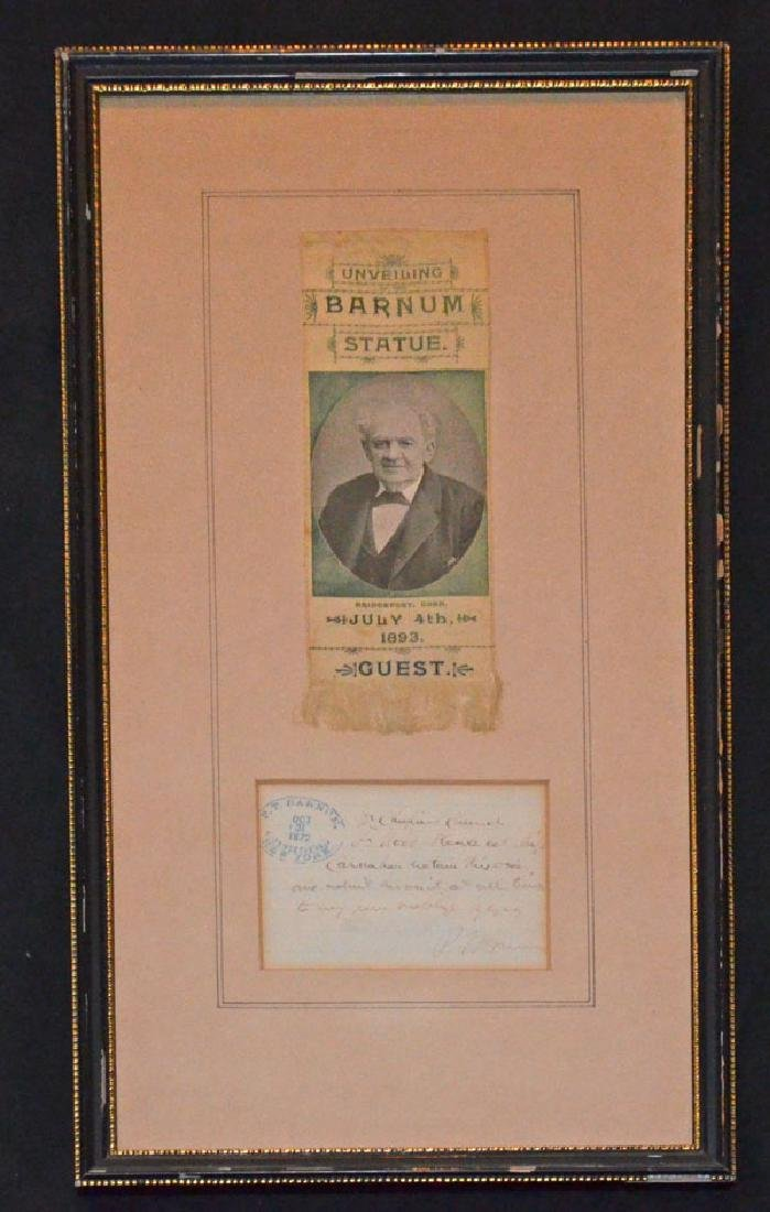 Signed PT Barnum Letter With Ribbon
