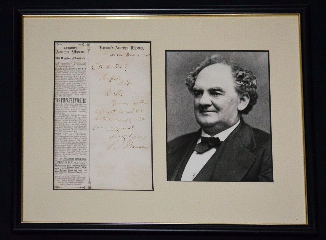 PT Barnum Signed Letter with Photograph