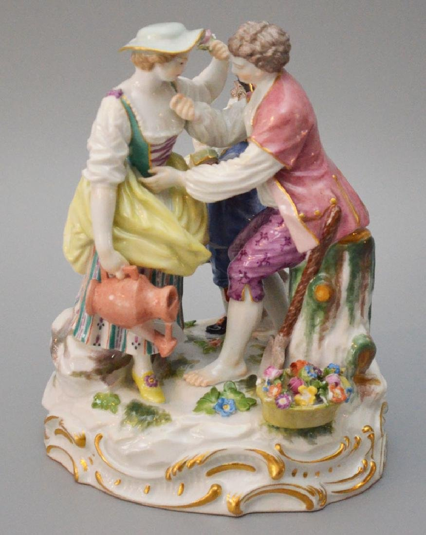 Meissen Porcelain Courting Scene Figural Group w Boy
