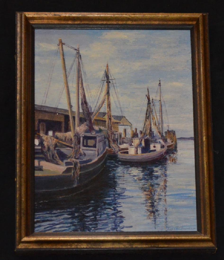 James F. Barker Nantucket Sailboat Oil Painting