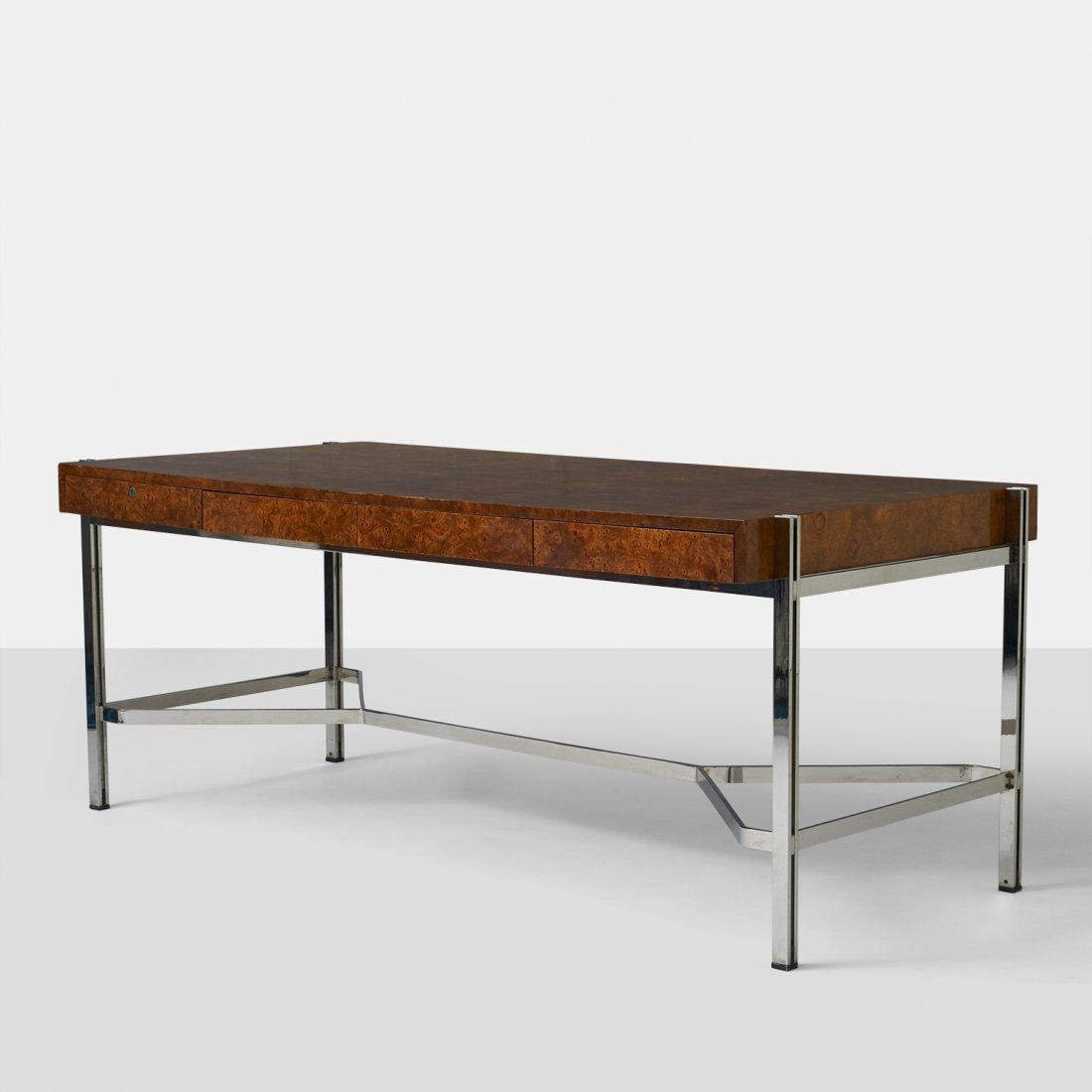 Milo Baughman, Burled Olivewood Desk