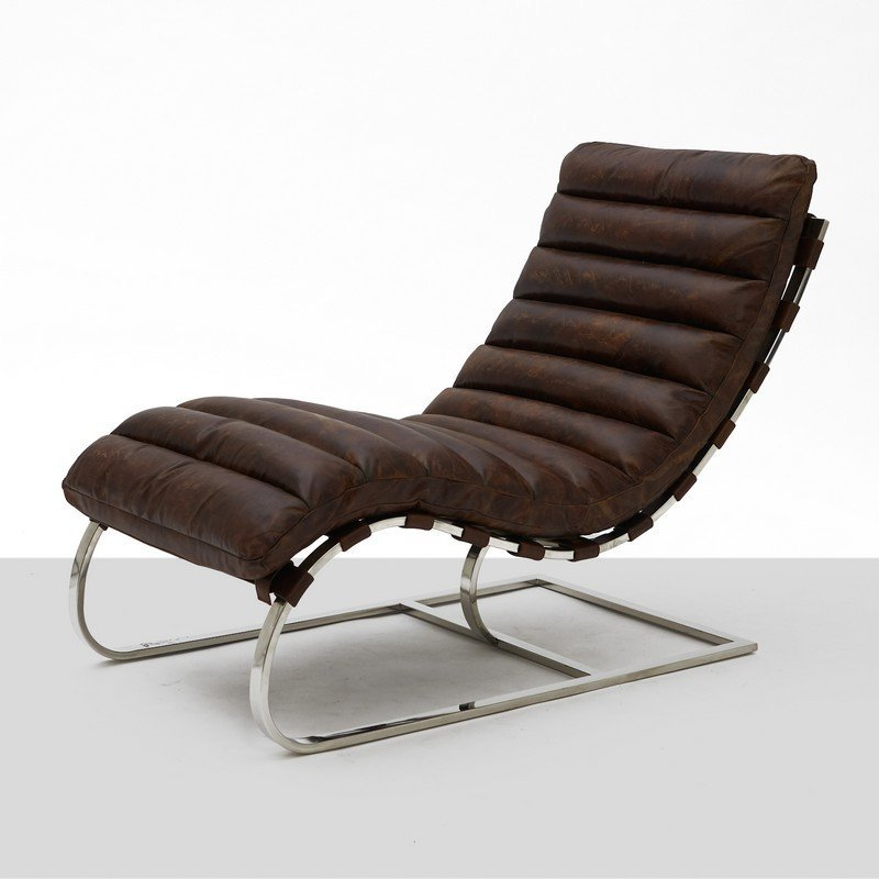 Unknown Designer, Chrome and Leather Chaise Lounge