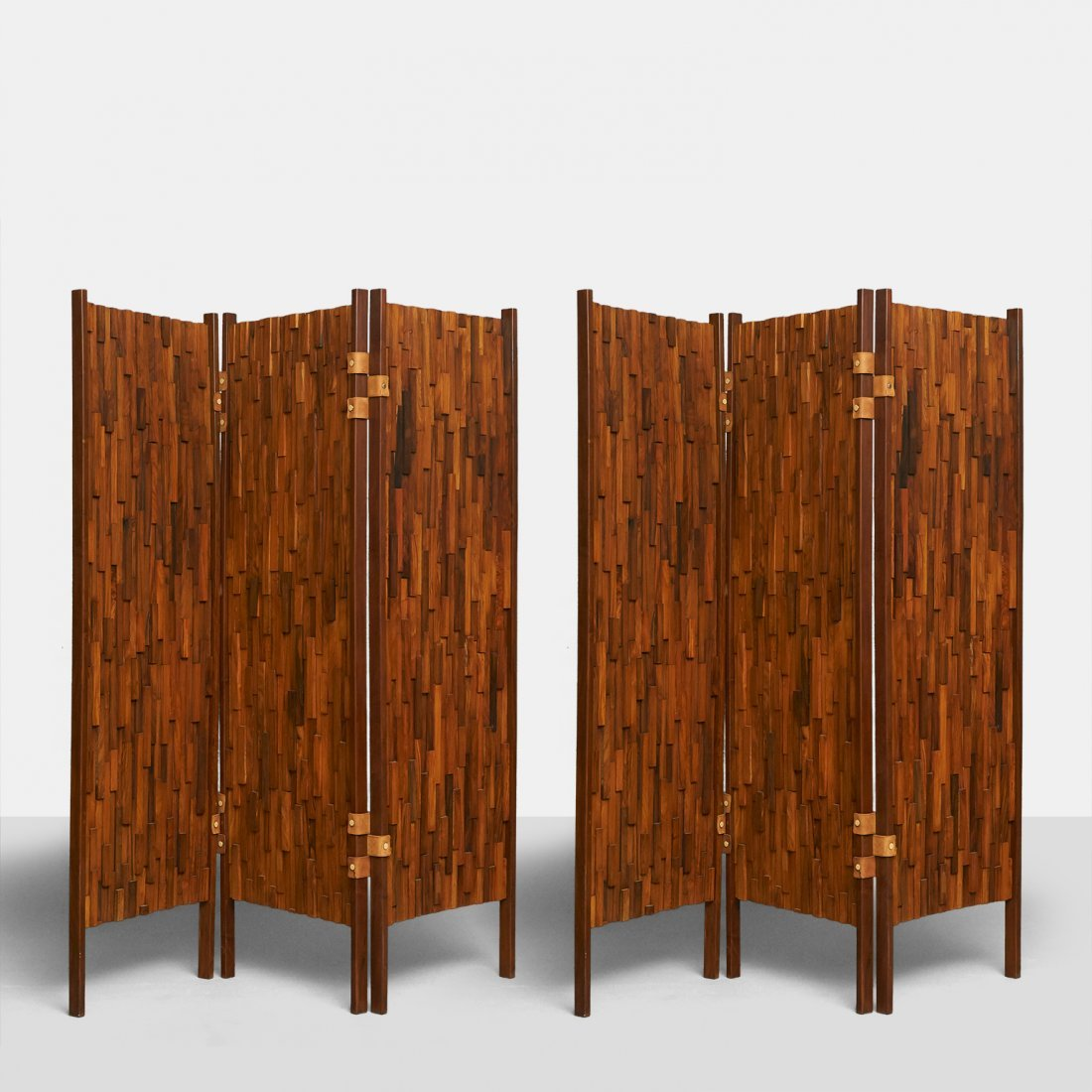 Percival Lafer Style Brazilian Rosewood 3-Panel Screens