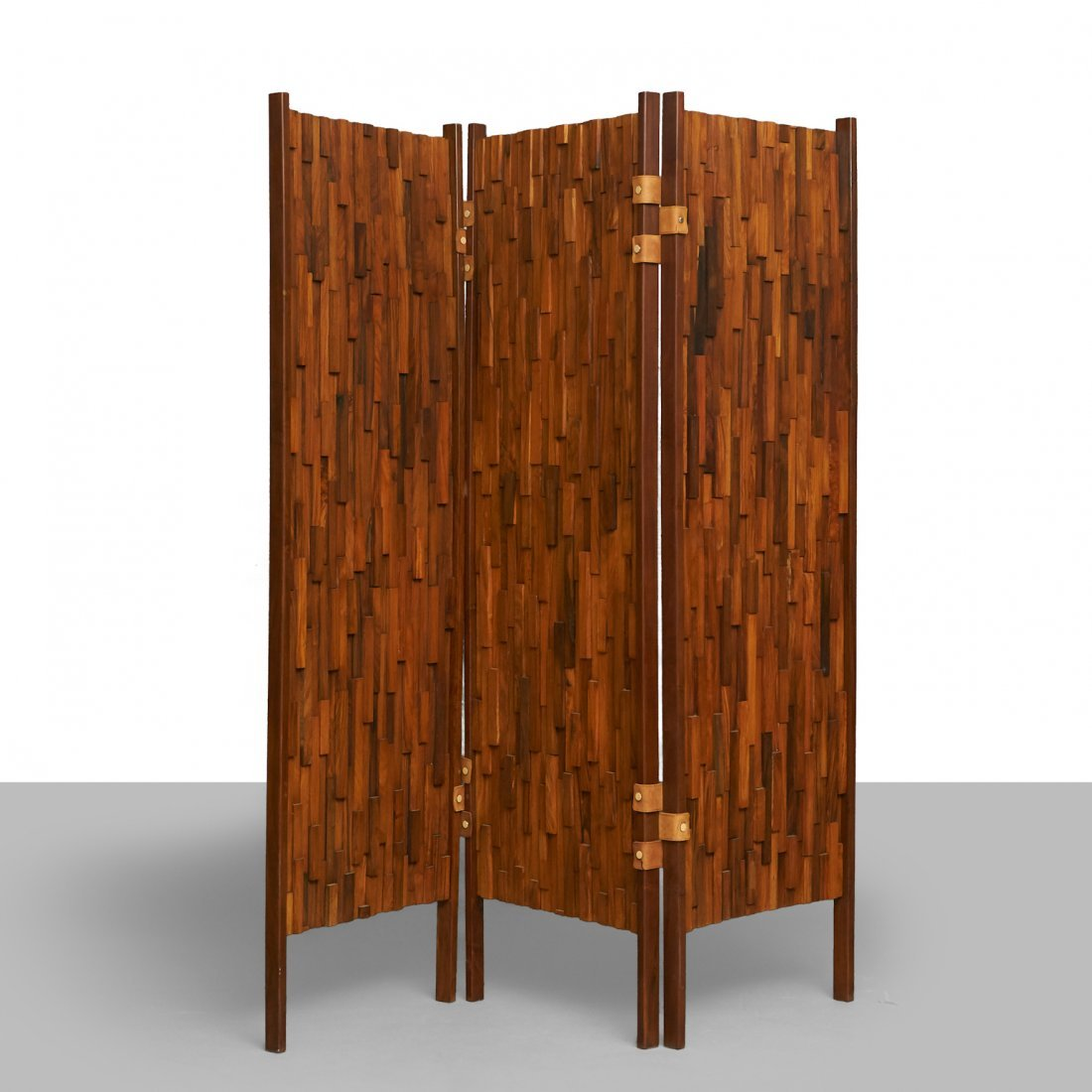 Percival Lafer Style Brazilian Rosewood 3-Panel Screens - 2
