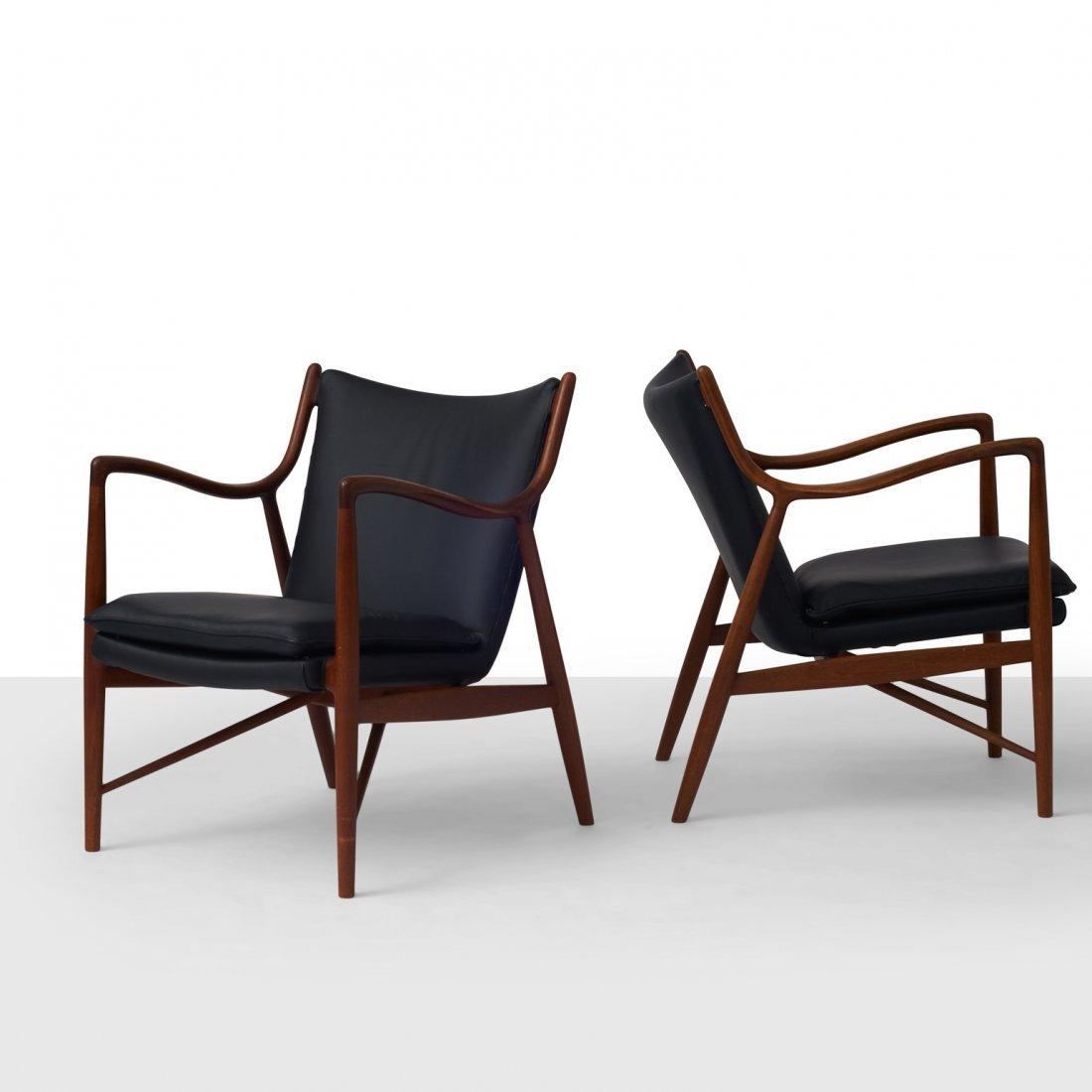 Finn Juhl, Pair of NV45 Chairs for Niels Vodder